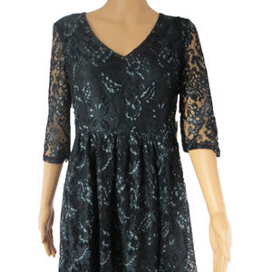 Kensie 3/4 Sleeve V-Neck  Lace A Line Dress L